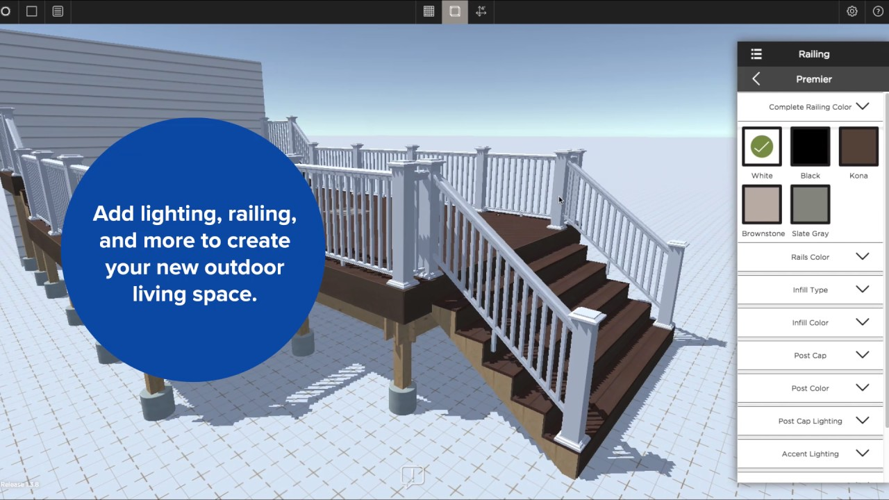 Azek building products launches real time 3d deck for Online deck design tool