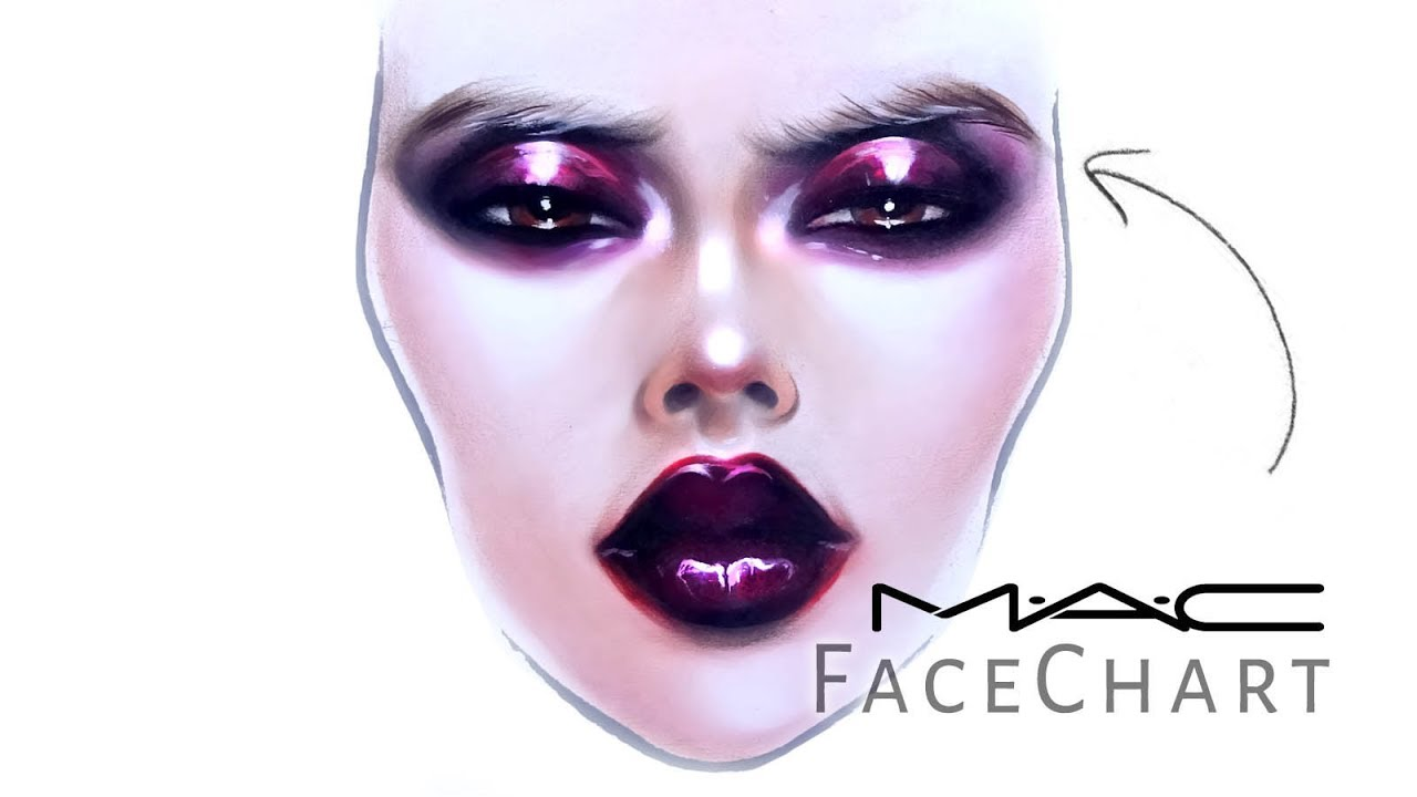 Mac face chart drawing with makeup on paper liza kondrevich also rh youtube