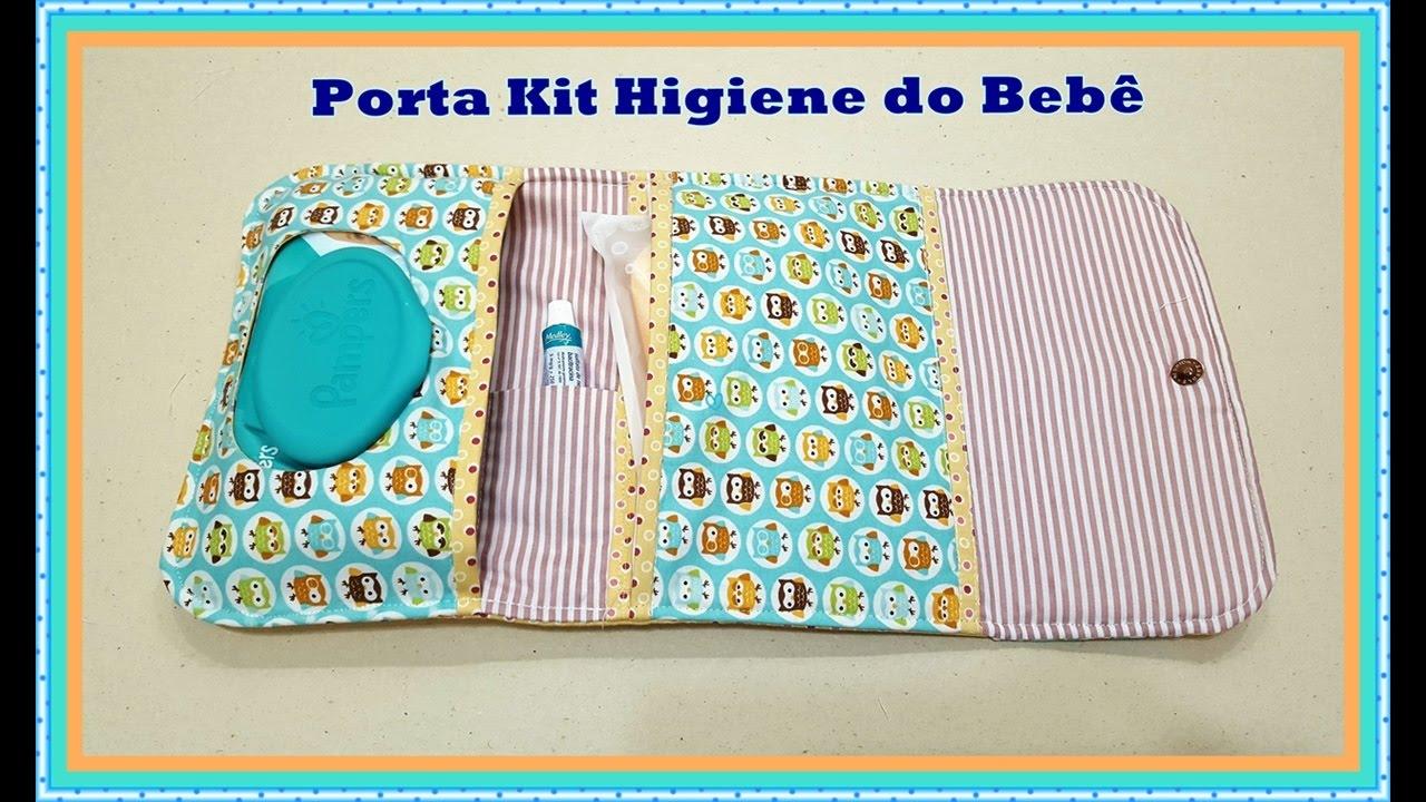 Passoà Passo Porta Kit Higiene do Beb u00ea de Tecido YouTube -> Como Decorar Kit Higiene Bebe Com Tecido