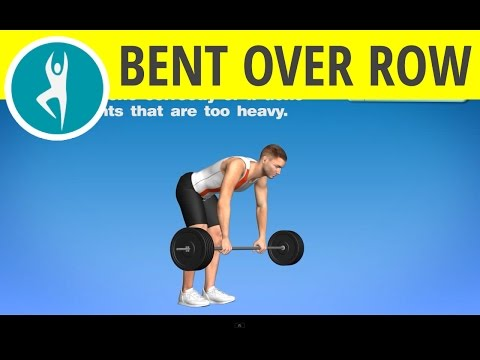 Bent over barbell row: bodybuilding workout for middle back muscles, biceps and lats with weights