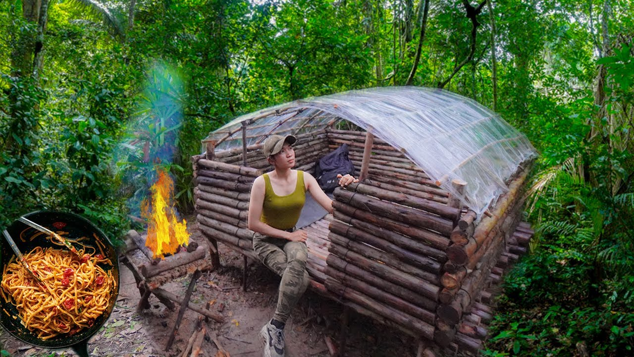 Overnight Bushcraft Shelter Camping -  Build Log Cabin And Plastic Wrap Shelter - Cooking Spaghetti