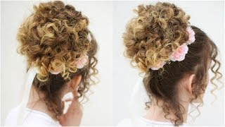 Easy Romantic Curly Bun Updo | Curly Updo | Braidsandstyles12
