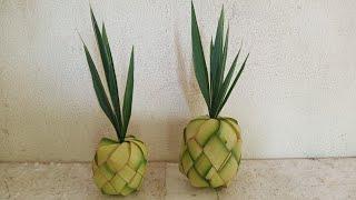 Cách làm trái khóm ( thơm)  bằng lá dừa đơn giản nhất.