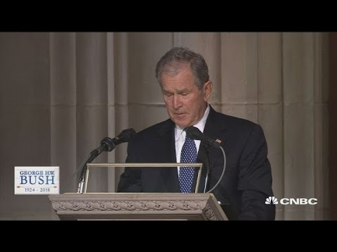 President George W Bush eulogizes his late father, President George HW Bush