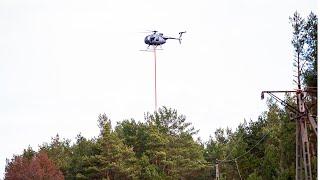 Przycinanie drzew helikopterem