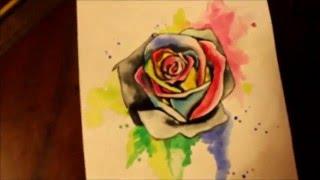 Как нарисовать акварельную розу (watercolor rose)(группа в контакте: vk.com/dashakarptattoo инстаграм: @dashakarptattoo., 2016-02-17T17:23:04.000Z)