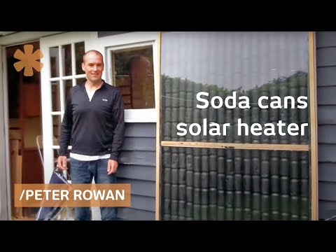 Heating Seattle backyard studio with soda cans as solar panels