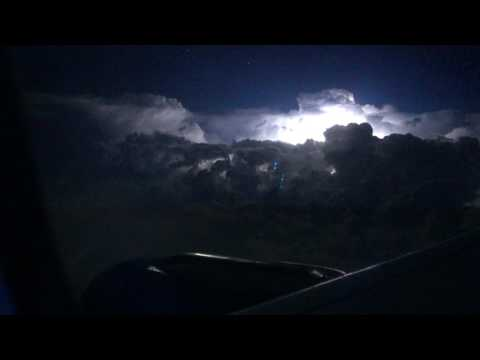 Thunderstorm at night while in flight over MSP (Minneapolis)