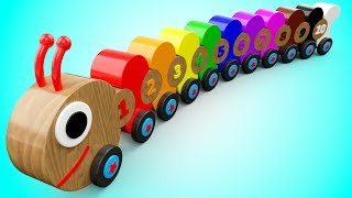 Learn Colors and Numbers for Children with Wooden Caterpillar Toys Kids Toddler Educational Videos