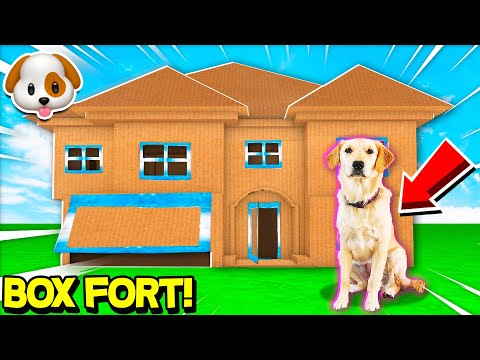 WORLD'S BIGGEST 2 STORY BOX FORT HOUSE for PUPPY! (DIY GIANT DOG MANSION)