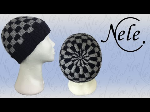 Mütze stricken für Anfänger, zweifarbige, karierte Strickmütze, DIY Anleitung by NeleC.