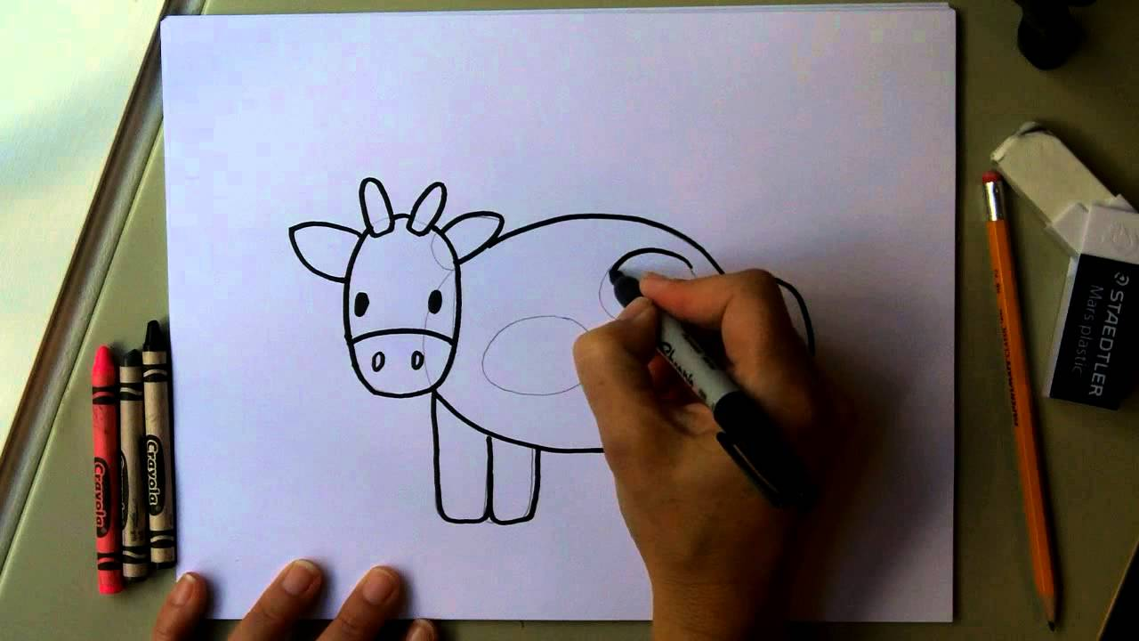 How to Draw a Cow - Easy Drawing Tutorial! Fun for kids! moo!!