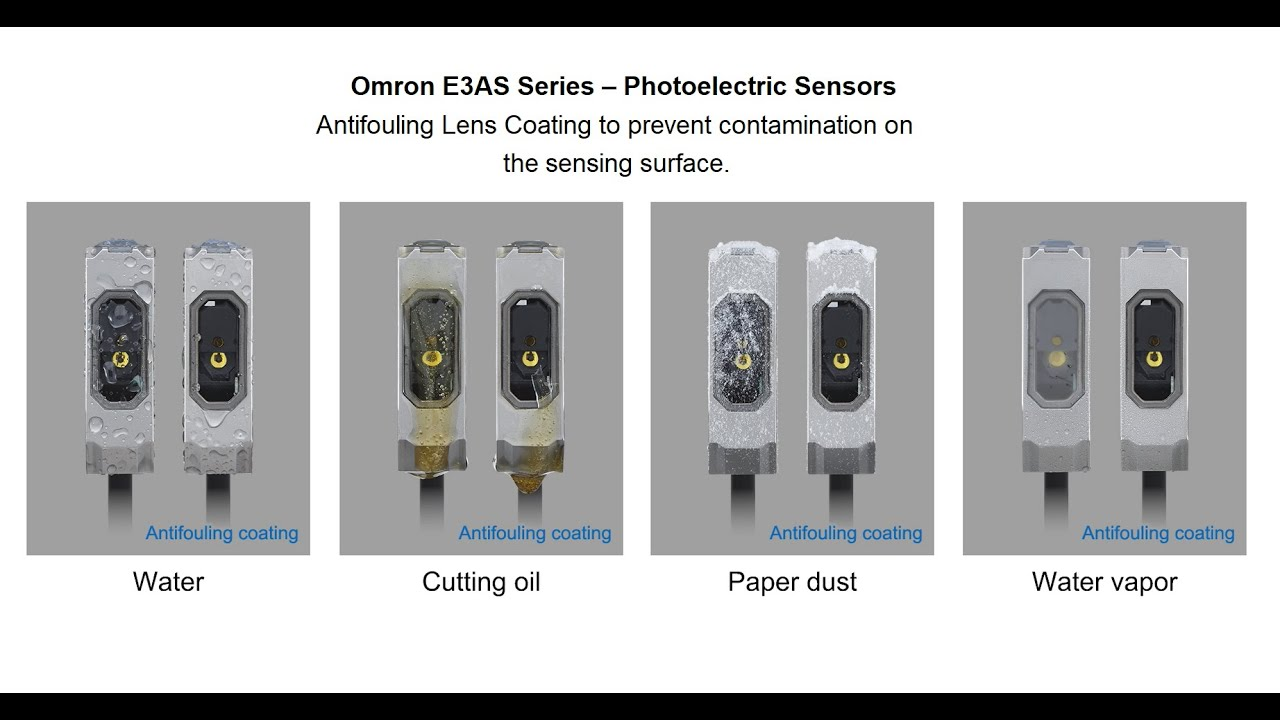 E3AS Photoelectric Sensors – Antifouling Lens Coating to prevent contamination sensing surface.