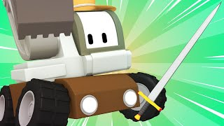Tiny Trucks - Excalibur - Kids Animation with Street Vehicles Bulldozer, Excavator & Crane