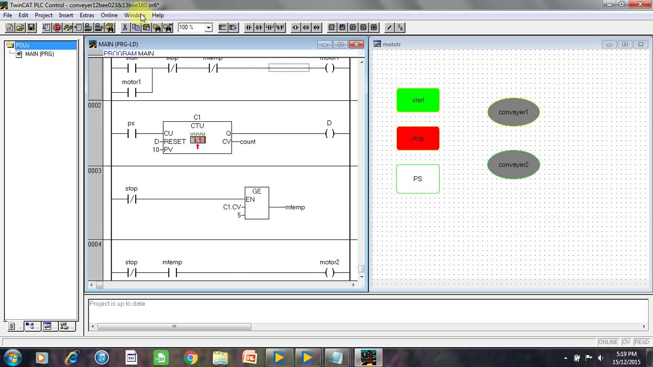 Conveyor Belt Ladder Logic Diagram Free Vehicle Wiring Diagrams Simple Relay For System Youtube Rh Com Symbols