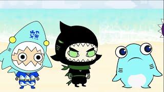 【サメニンのアニメ】深海のニンジャカラスザメの冒険!漆黒のサメニンジャー、サク!