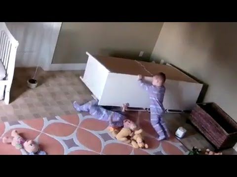 2 year old saves twin trapped under toppled dresser