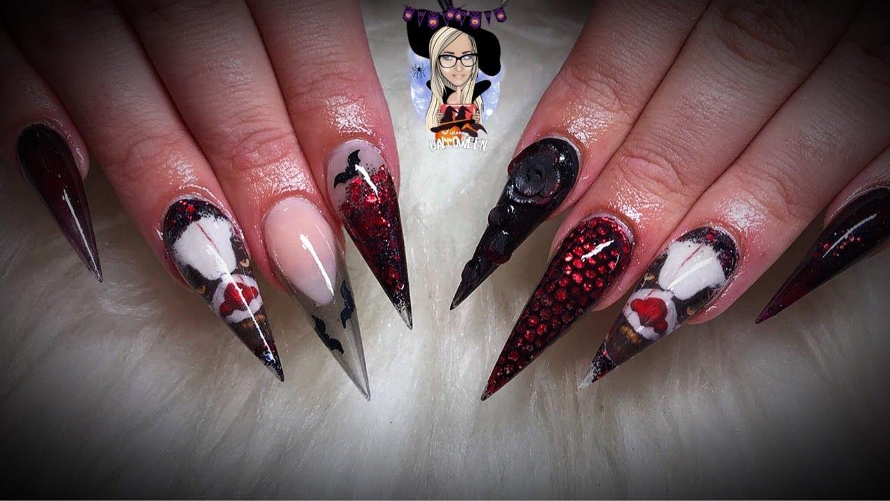Killer clown acrylic nails ~ Halloween nails ~ scary nails ...