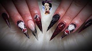 Killer clown acrylic nails ~ Halloween nails ~ scary nails ~ stiletto nails 🤡🦇🕷👻🧙♀️