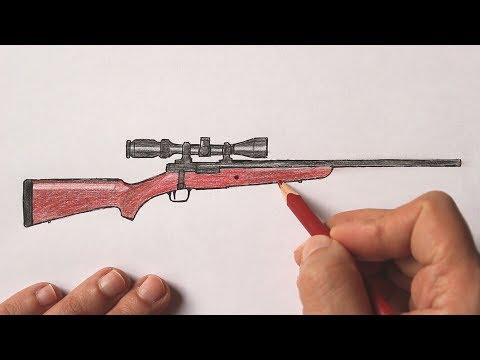 Как нарисовать Снайперскую винтовку поэтапно