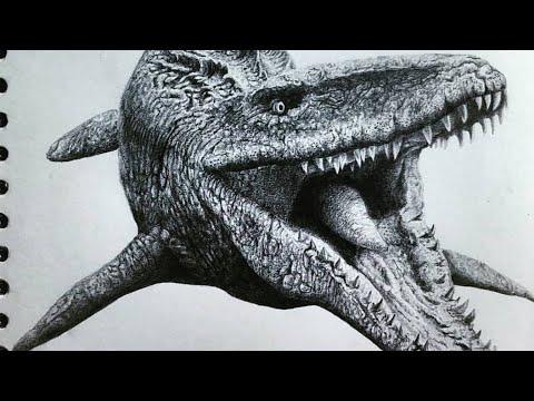 공룡 그림 잘그리는 법 if you like dinosaur come in/모사사우루스 그리기