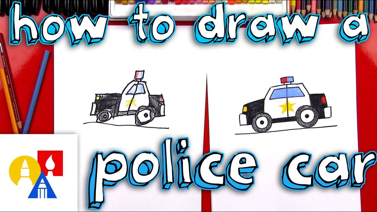 How To Draw A Cartoon Police Car - YouTube