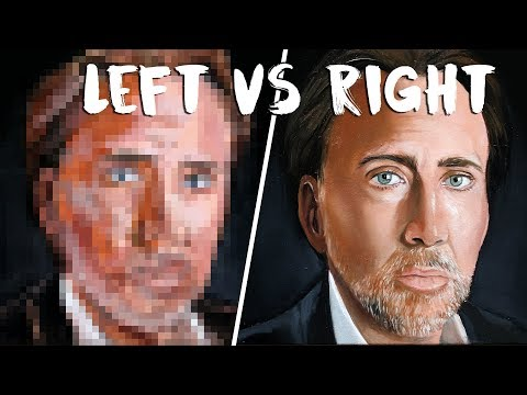 Left Hand VS. Right Hand Art Challenge ft Nicholas Cage