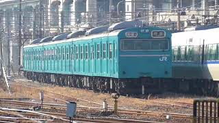JR西日本 網干総合車両所宮原支所に止まっている103系3本