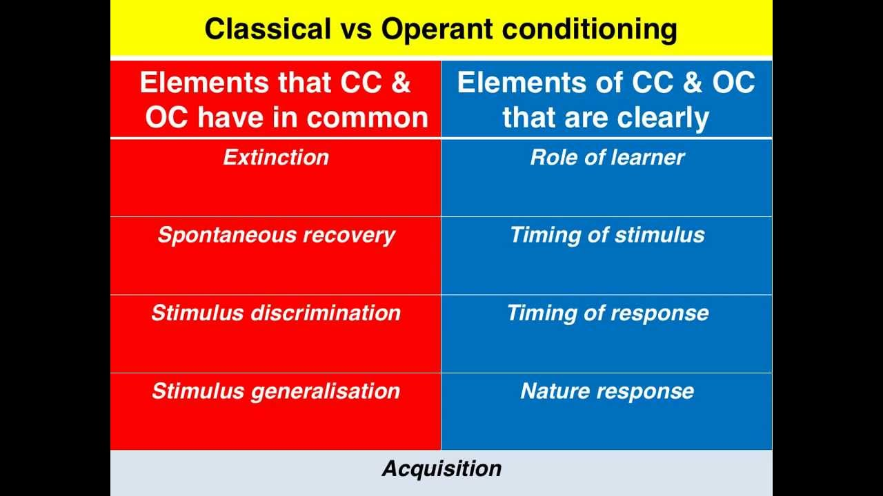 Classical Vs Operant Condioning