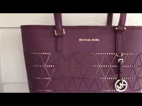 73a794d079060d Michael Kors Jet Set Plum Carry All leather bag with Wallet NWT ...