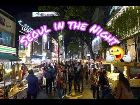 Seoul in the Night : Myeong-dong Shopping Street.