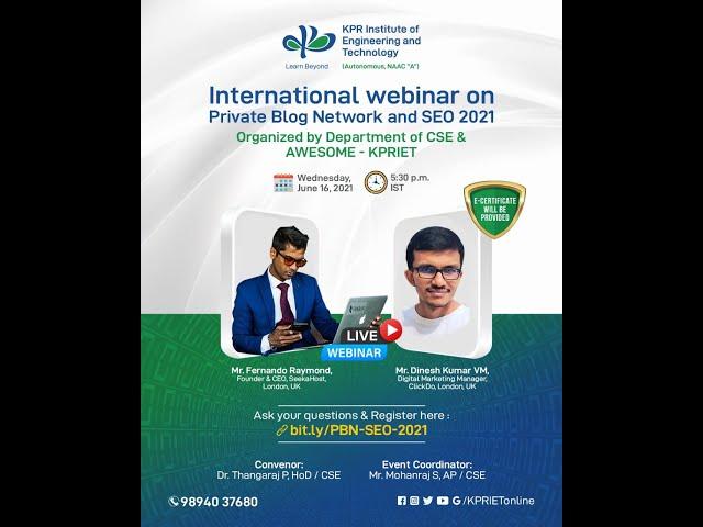 International Webinar on SEO, PBN SEO & Google Ads | Organized by KPR Engineering College
