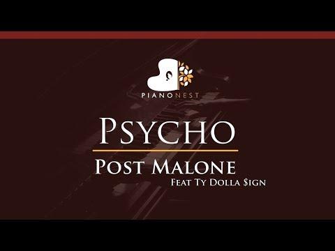 Post Malone Feat Ty Dolla Sign - Psycho - HIGHER Key (Piano Karaoke / Sing Along)