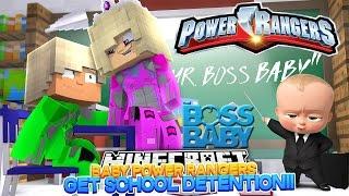 Minecraft - BABY POWER RANGERS GET SCHOOL DETENTION FROM BOSS BABY!!