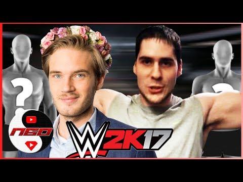 Pewdiepie & ??? vs PopularMMOs & ???  | Youtubers/Heroes Round 1 | WWE 2K17 [s6e10]