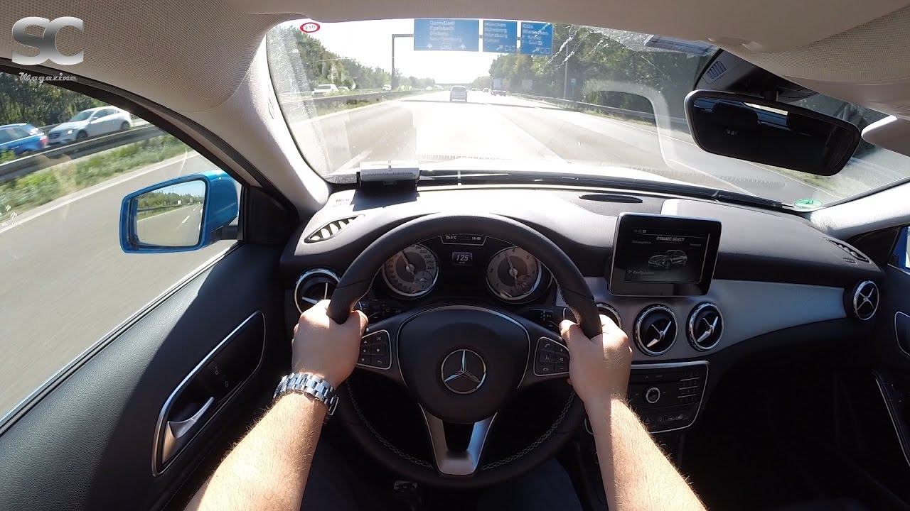 mercedes-benz gla 180 cdi (2016) on german autobahn - pov top