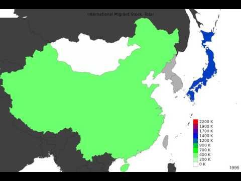 East Asia - International Migrant Stock, Total - Timelapse