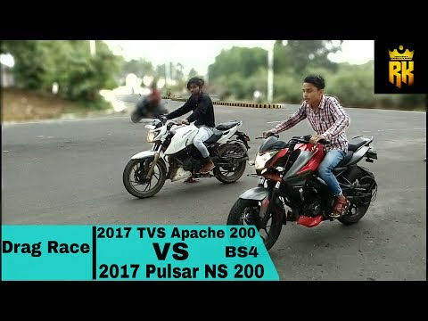 2017 TVS Apache 200 VS 2017 Pulsar NS 200 BS4 (Drag Race) : Walk Around And Exhaust Note: