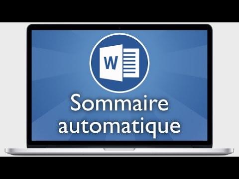 Tutoriel Word 2013 - Insérer un sommaire automatique ou table des matières, le modifier et enregistr