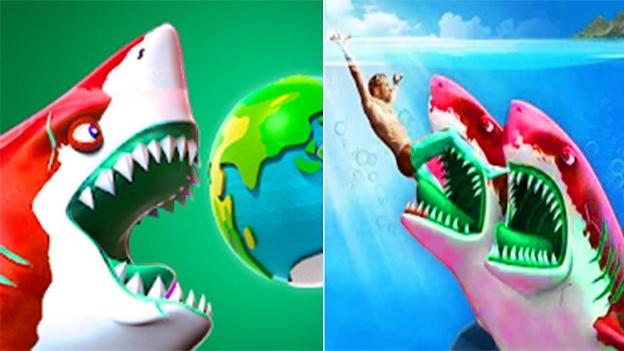 Hungry Shark World VS Double Head Shark Attack - ALL SHARKS UNLOCKED   Android Gameplay [FHD]