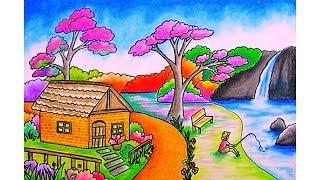Cara menggambar pemandangan Rumah dan Air terjun Dengan Gradasi warna oil pastel (DRAWING WATERFALL)