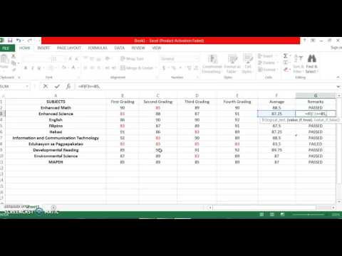 HOW TO GET AVERAGE GRADES AND REMARKS IN MS EXCEL