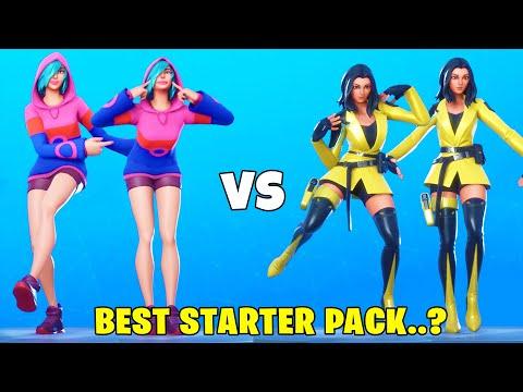 IRIS Vs. YELLOWJACKET In FORTNITE DANCES BATTLE! (BEST STARTER PACK?)