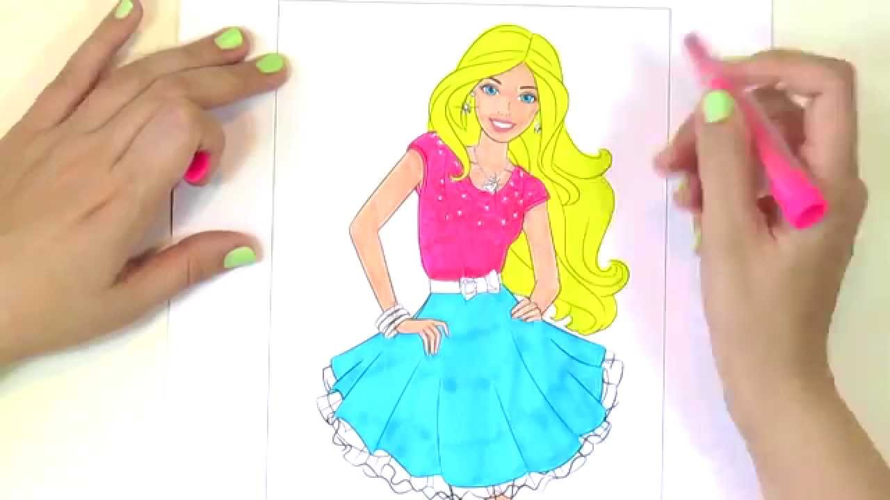 Барби: раскраска-мультик / Barbie: coloring pages - YouTube