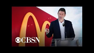 McDonald's CEO steps down after having relationship with employee