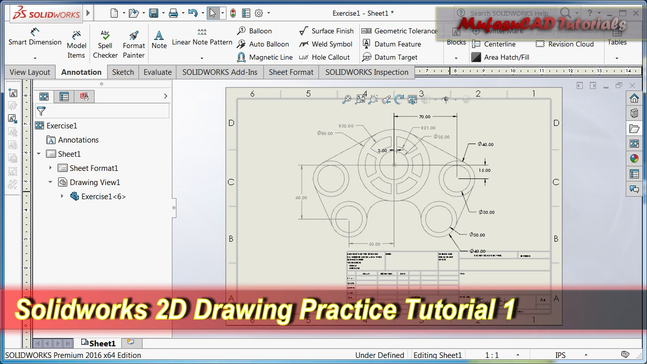 Solidworks 2D Drawing Practice Tutorial | Basic Exercise 1