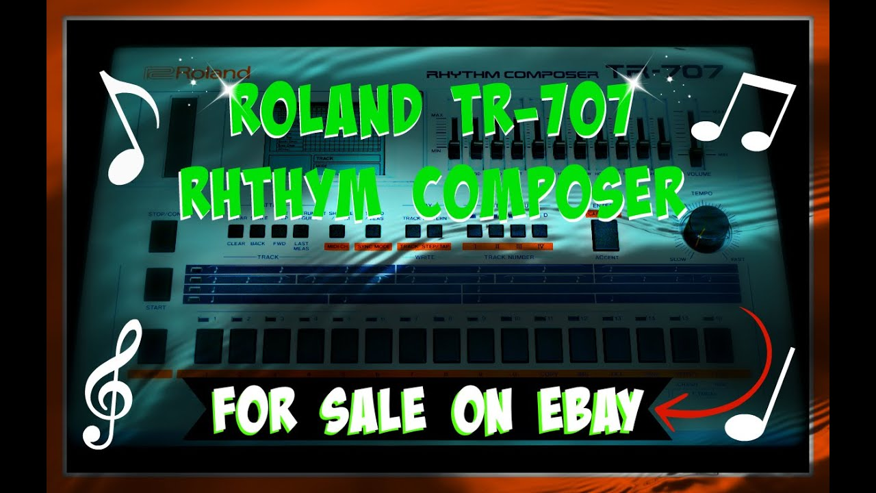 vintage drum machine for sale on ebay roland tr 707 rhythm composer youtube. Black Bedroom Furniture Sets. Home Design Ideas