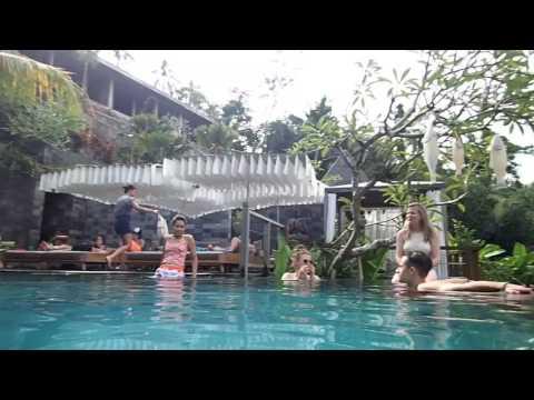 Resort  Bar and Pool at Jungle Fish Bali, Indonesia..