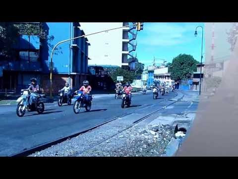Motorcycle racing in San Hose street, Costa Rica