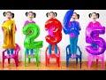 Beş Küçük Bebekler Ile Numaraları Öğrenmek Sandalye Üzerinde Bebek Tekerlemeler Şarkıları Tekerleme